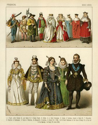 1550s-1600's French Fashion | Art Reference- Clothes ...