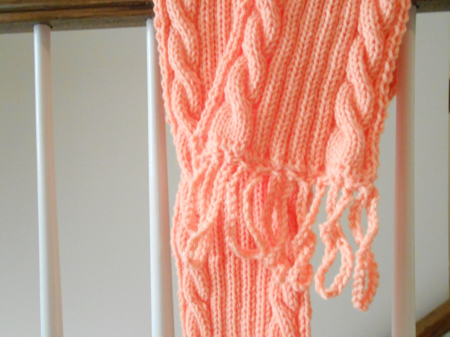 Knitted Cable Rope Ribbed Scarf. $15.00, via Etsy.