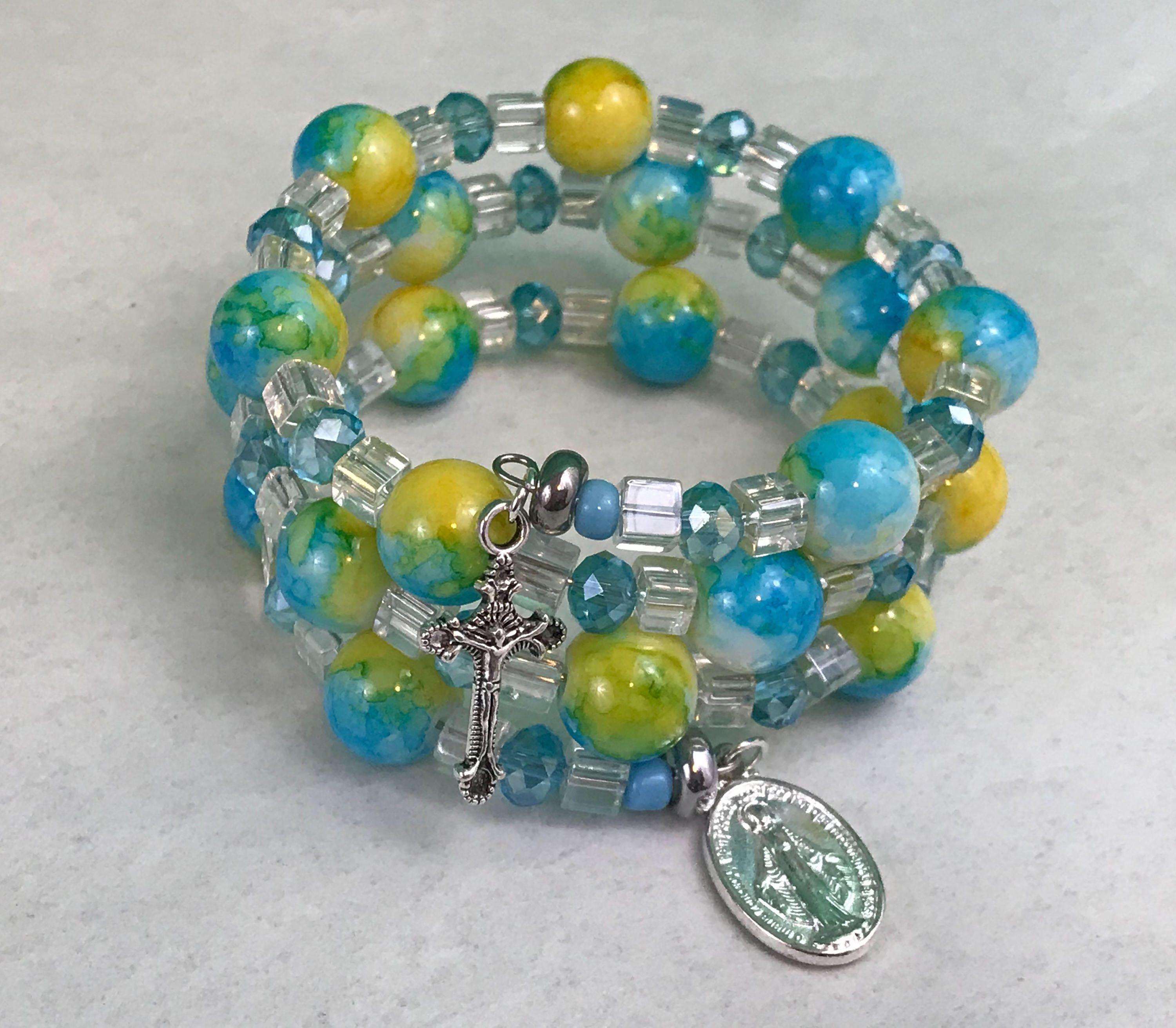 Memory wrap blue yellow white beaded rosary bracelet new gift by