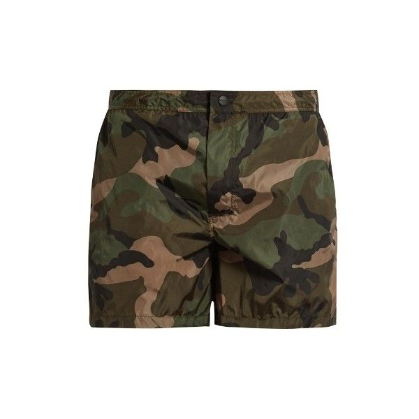42070d15d3 Valentino Camouflage-print swim shorts ($495) ❤ liked on Polyvore featuring  men's fashion, men's clothing, men's swimwear, mens camo swimwear,  camouflage ...