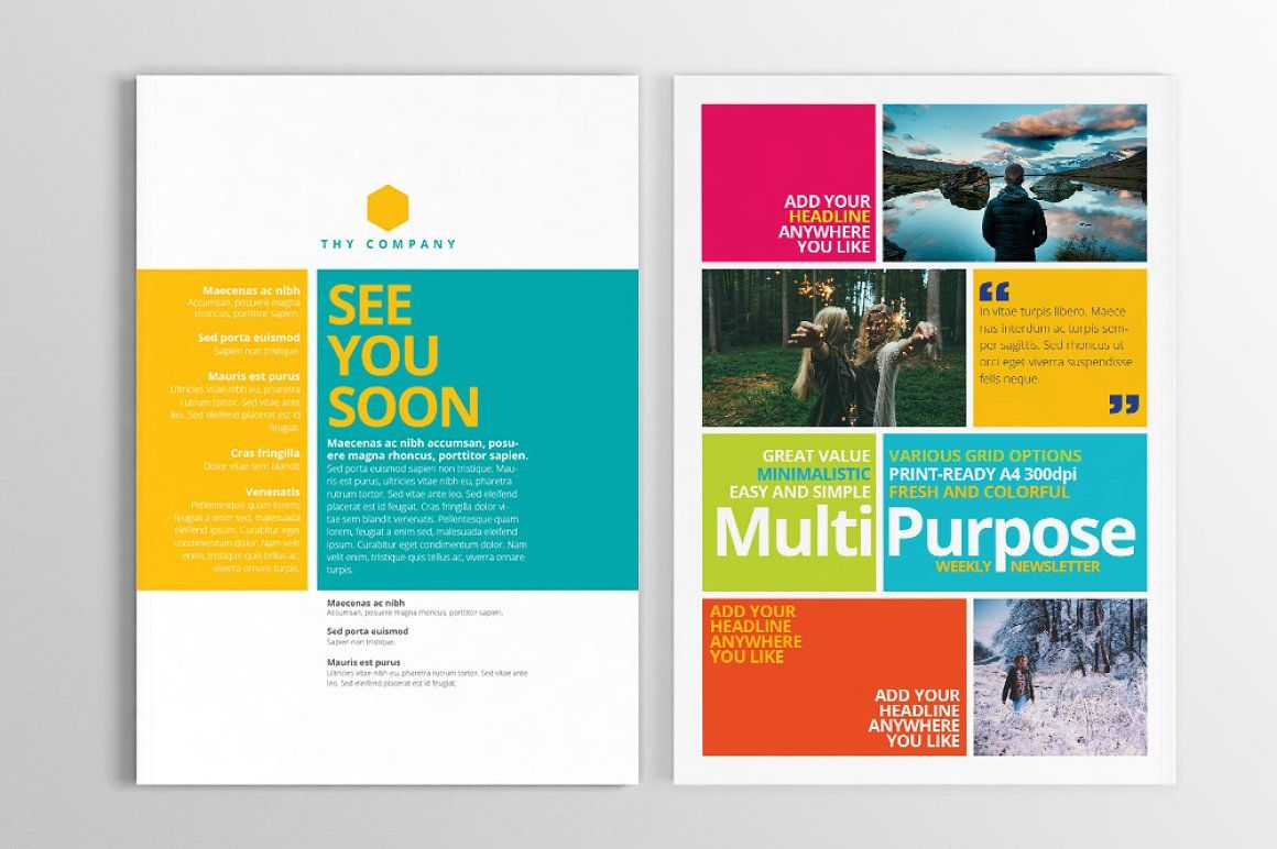 Multipurpose Print Newsletter With Images Newsletter Design