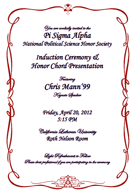 Image result for national honor society induction invitation