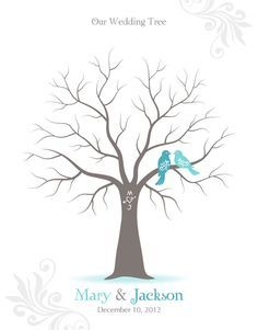 Fingerprint Wedding Tree Guest Book Poster With Ink Pad Wall Art