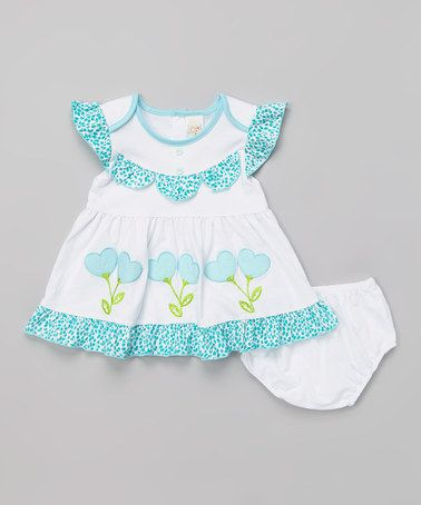 Love this Light Blue & White Heart Dress & Diaper Cover - Infant by Lele for Kids on #zulily! #zulilyfinds