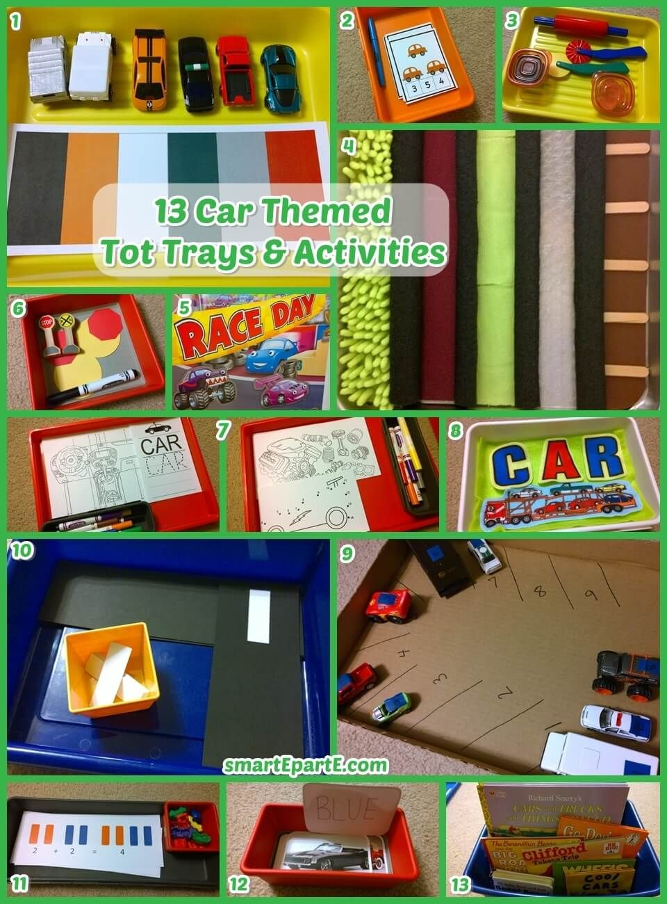 13 Car Tot Trays Activities Tot Trays Business For Kids