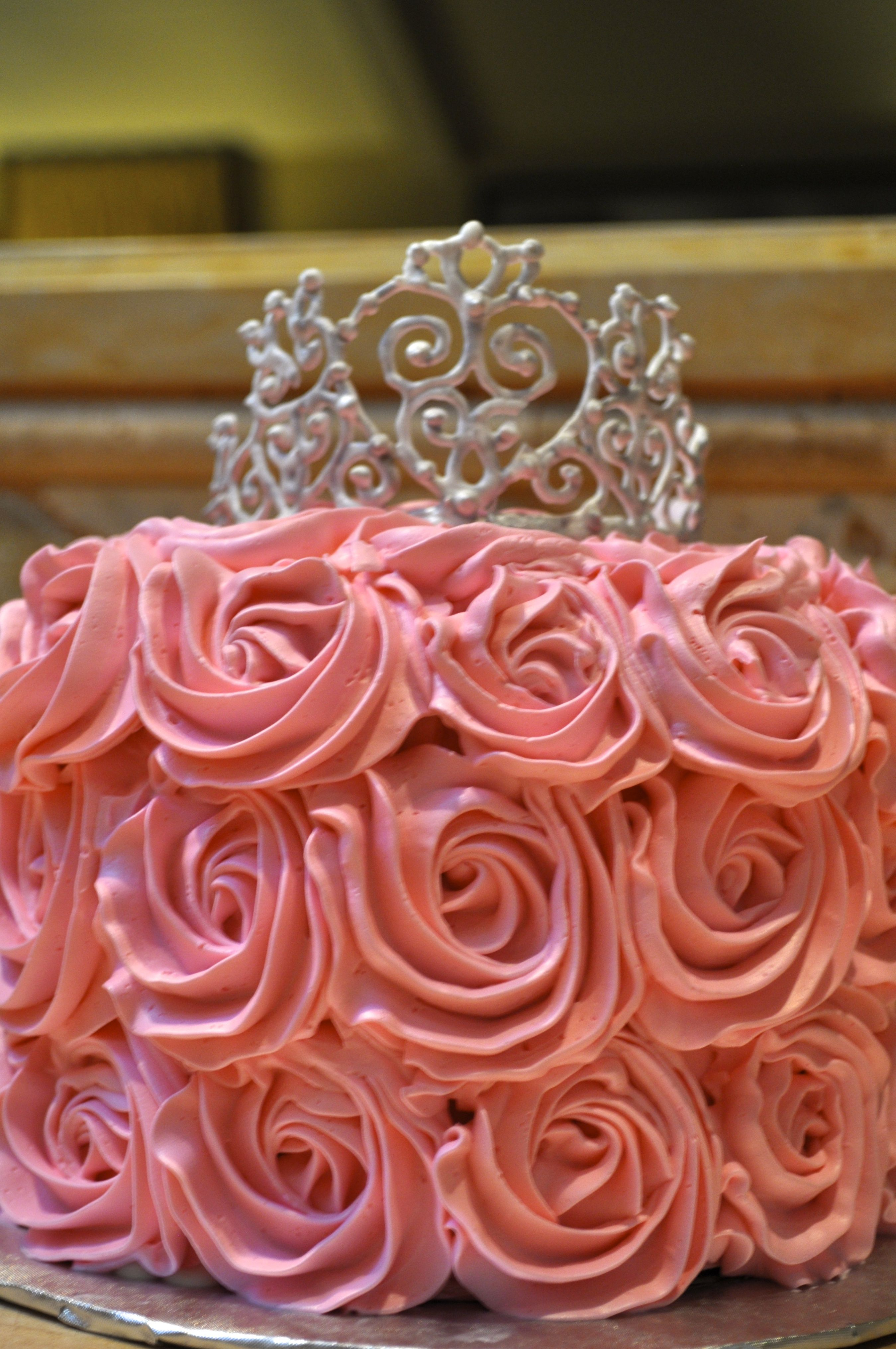 Pink Rosette Cake With Silver Royal Icing Tiara Cakes