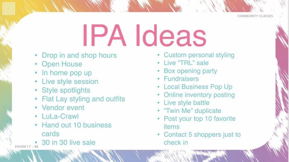 4b6e7a288c7b45 IPA (income producing activities) ideas Lularoe Pop Up Party, Lularoe  Consultant, Ipa