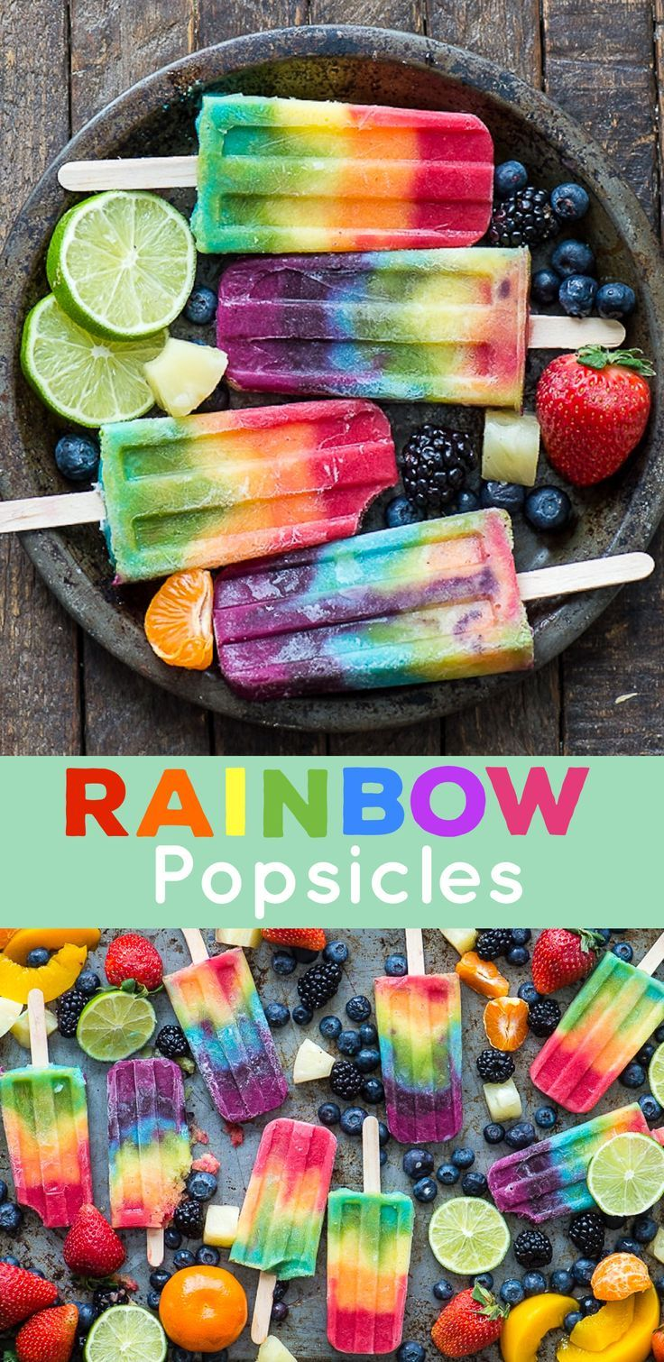 Outstanding 7 layer rainbow popsicles! Make your own homemade rainbow popsicles with lots of fresh fruit! #rainbow #popsicles #rainbowfood #rainbowpopsicles