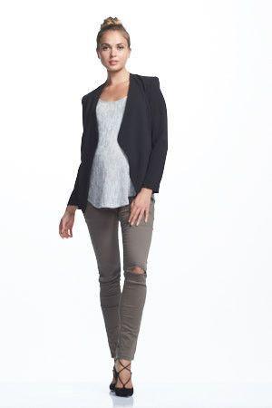 68d6f1a00cf77 Soon Maternity Skyler Jacket - Black Black, blazer style, open jacket  Women's, Maternity, Jackets, Blazers, Soon Maternity