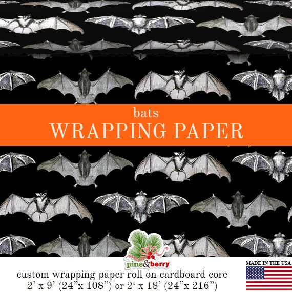 Halloween Bats Gothic Wrapping Paper | Custom Halloween Bats Gift Wrap Matte Finish Available In 2 Sizes For Any Occasion. Made In The USA