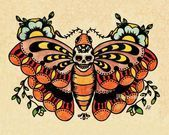 Photo of Old School Tattoo Art Flash BEE Butterfly & Skull MOTH Prints 5 x 7, 8 x 10 or 1…