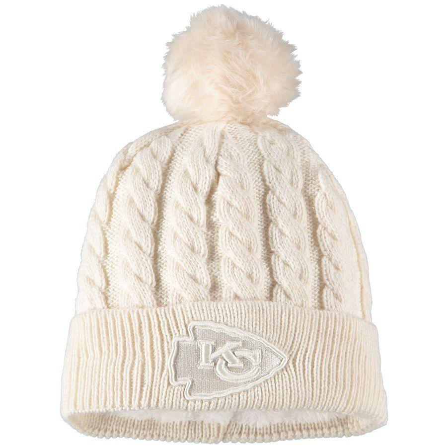 Women s Kansas City Chiefs New Era Cream Walcott Cuffed Knit Hat with Pom d4e227bd2b00