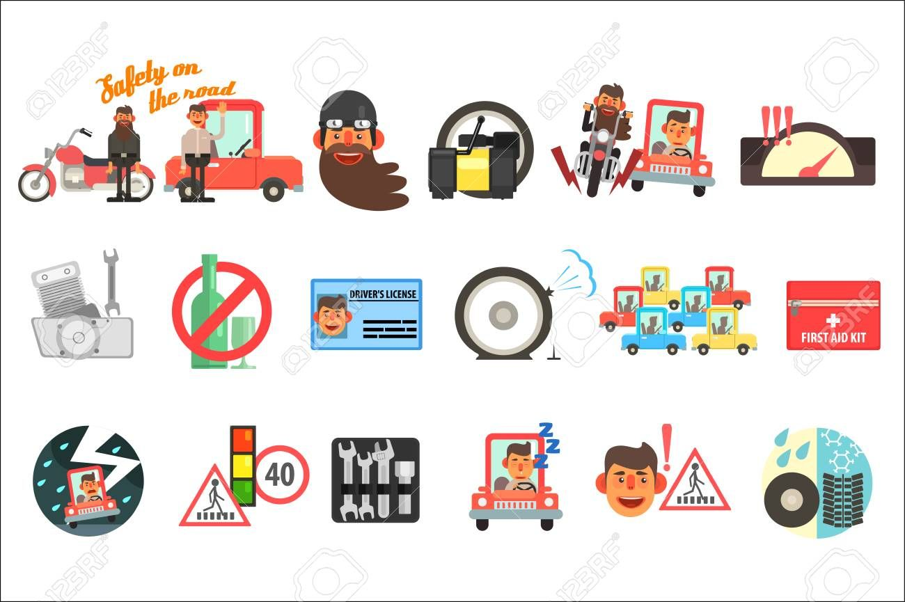 Flat Vector Set Of Cartoon Items Related To Safety On Road Traffic Codes Signs First Aid Kit Driver S License In 2020 Car Safety Creative Poster Design Tire Safety