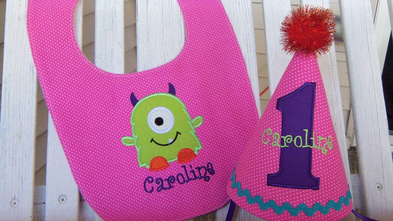 Girls 1st Birthday Hat Bib Set