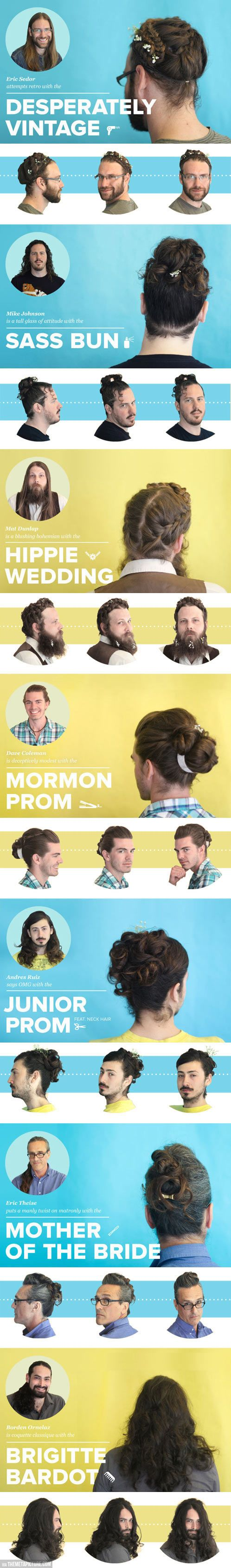 Guys with fancy lady hairu the mormons haha and hair