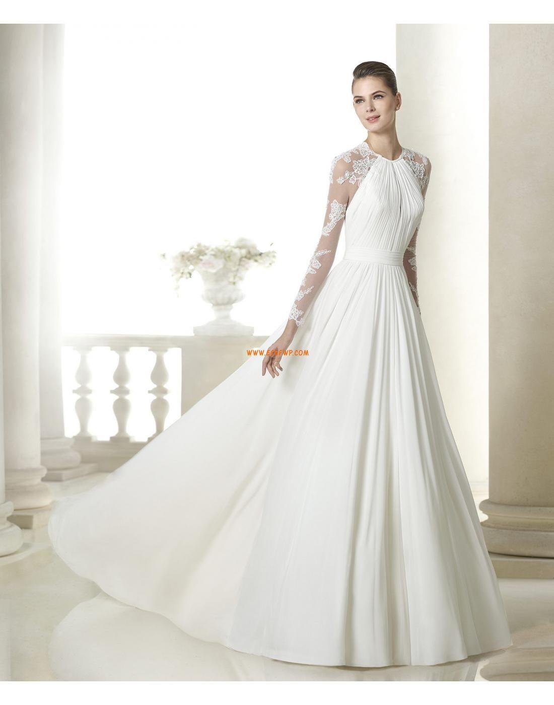 Chiffon Lange Ärmel Natürlich Brautkleider 2015 | dresses ...