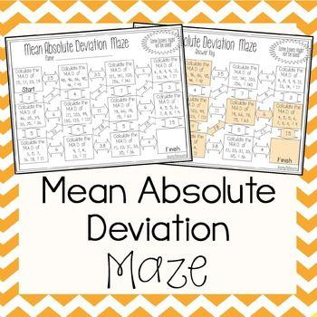 Mean Absolute Deviation Maze Math Pinterest Maze Math And