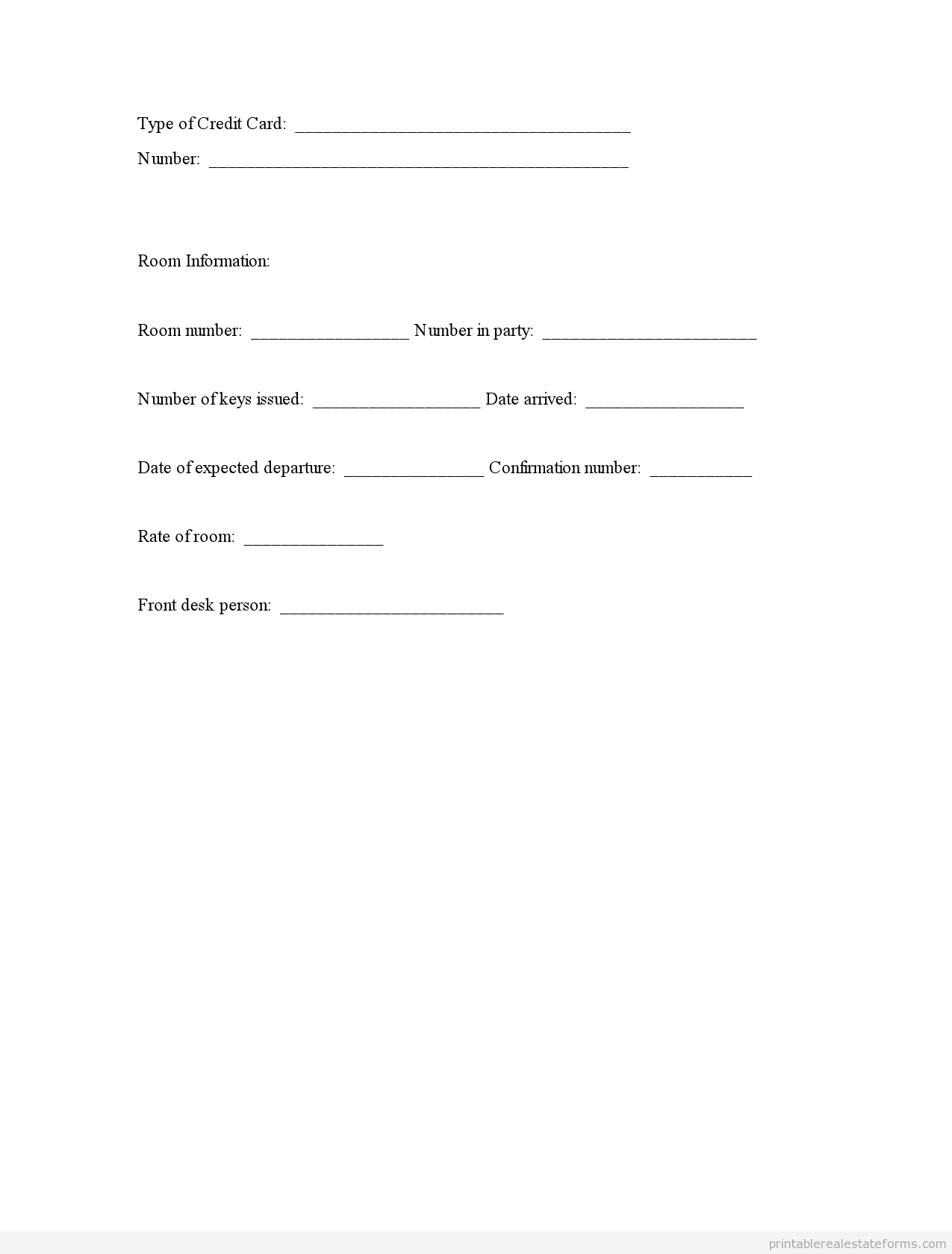 Printable Guest Registration Template   Sample Forms