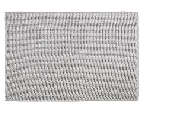 Badematte aus 100% Polyester in der Farbe Grau. B/H: ca. 60/90cm.
