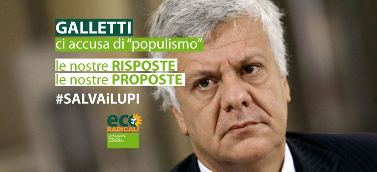 Piano Lupo. EcoRadicali a Galletti: rispetto della legge non è populismo
