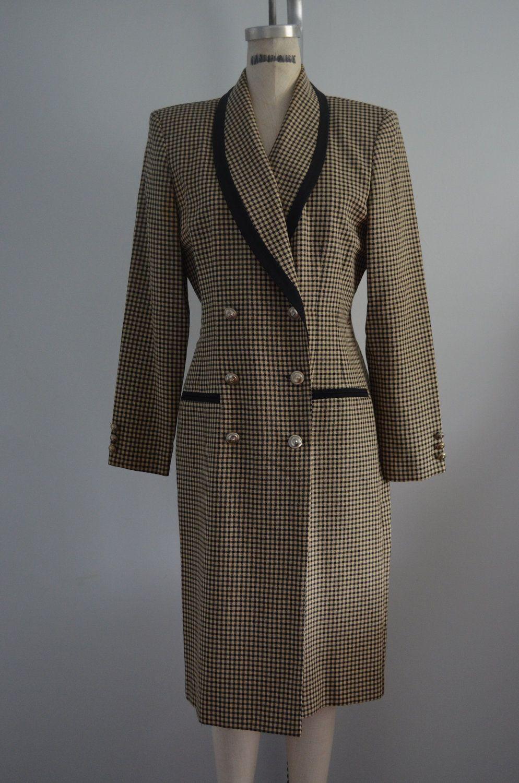 Vintage 80s Danny & Nicole Houndstooth Pattern Dress Long ...