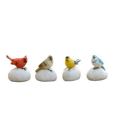 Another great find on #zulily! Garden Stone & Perched Bird Figurine Set #zulilyfinds