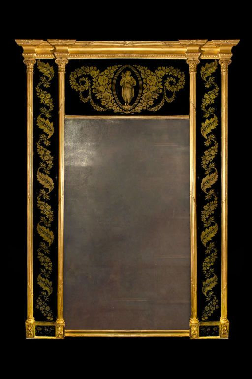 Regency Gilded Verre Eglomise Mirror. British Good condition. circa 1810