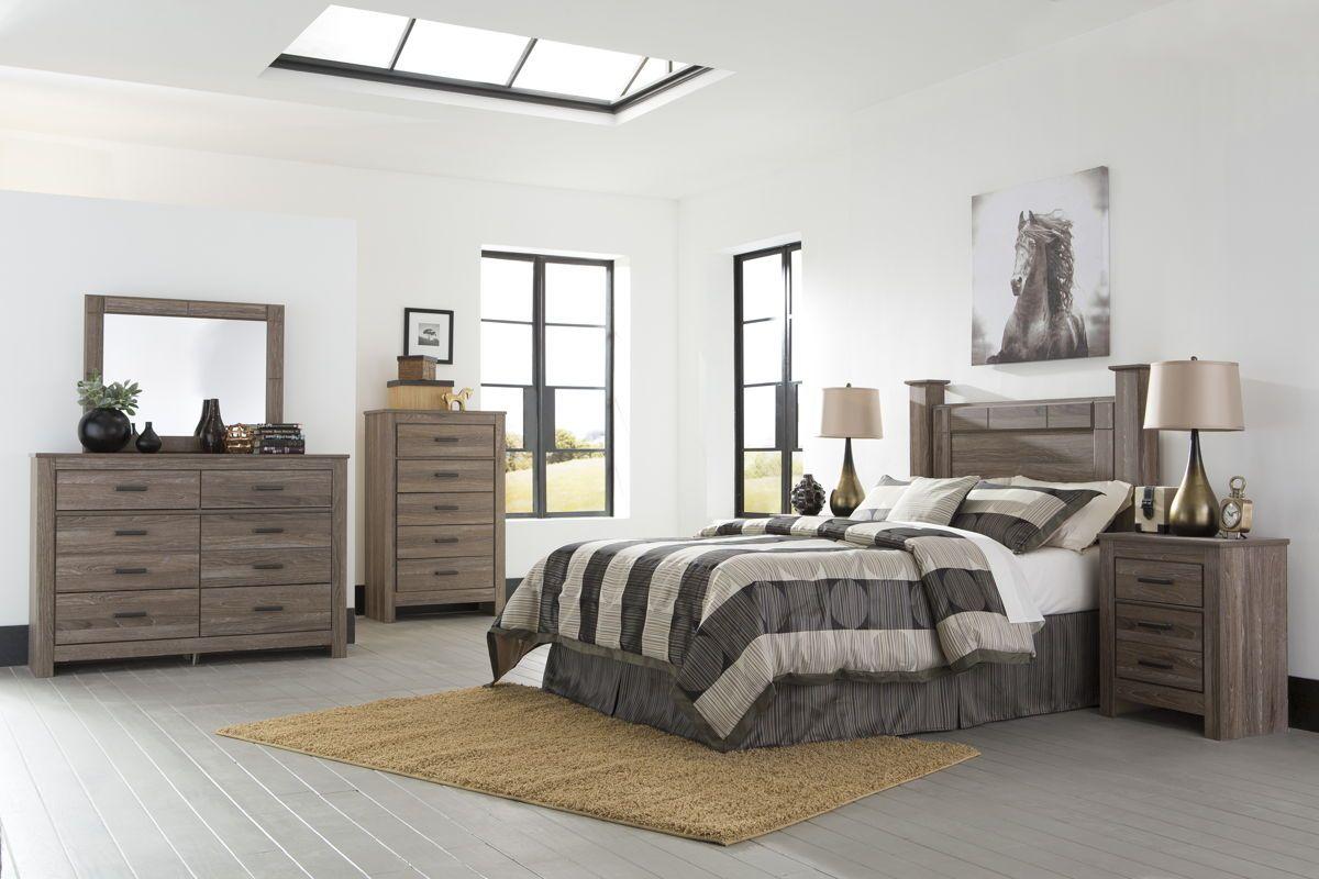 Waldrew Contemporary Warm Gray Wood Master Bedroom Set
