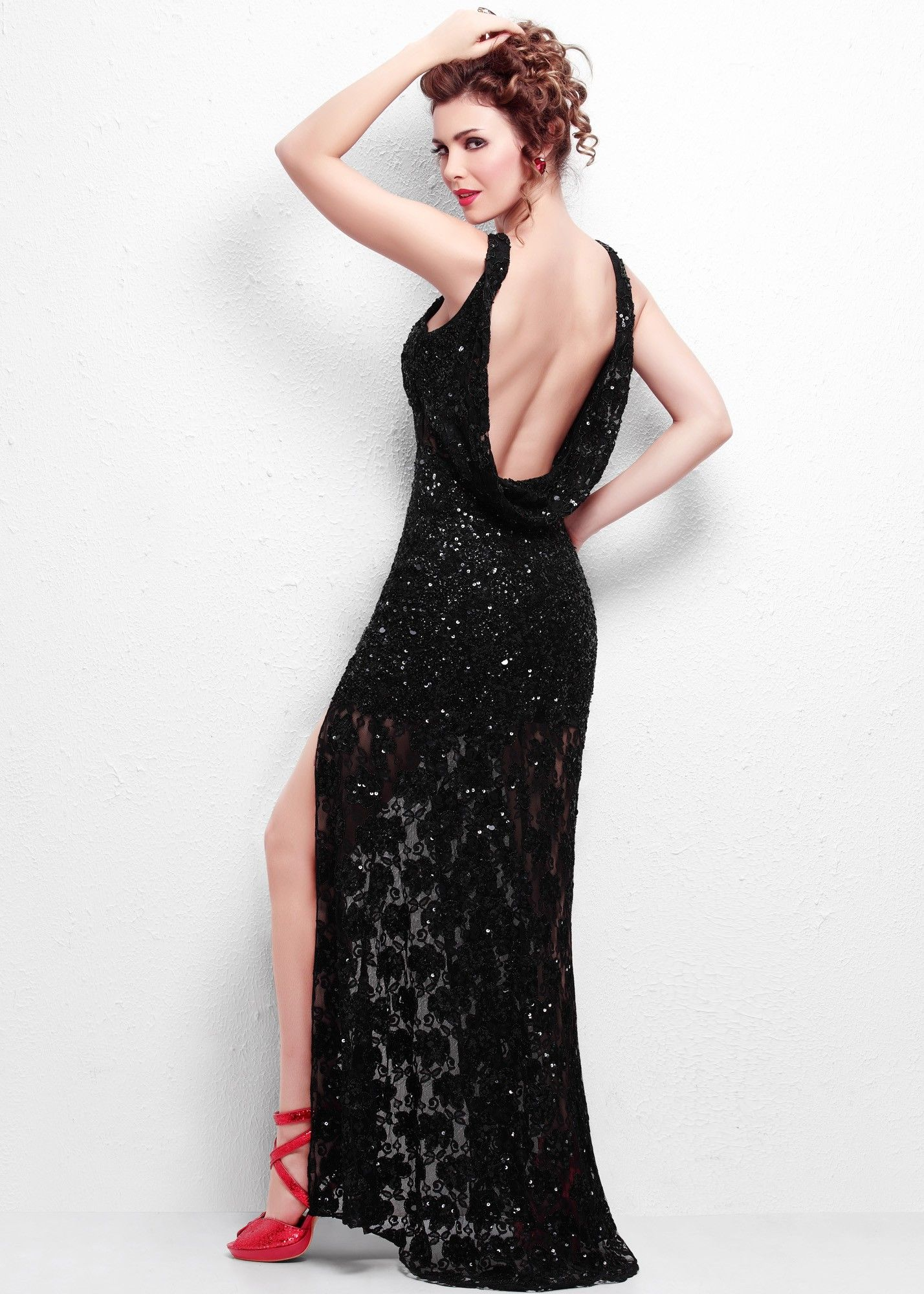Primavera sequin high neck evening gown prom dress