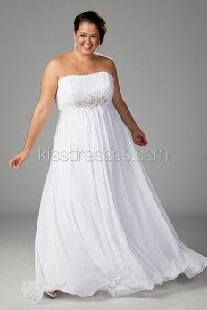 Plus Size Strapless Chiffon Empire Waist Wedding Gown | my wedding ...