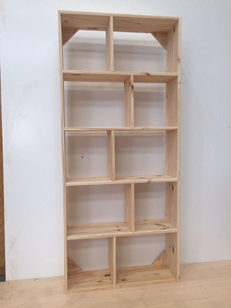 Biblioteca 5 estantes pino 10 cubos 80x25x180cm tablero for Mueble de 5 repisas