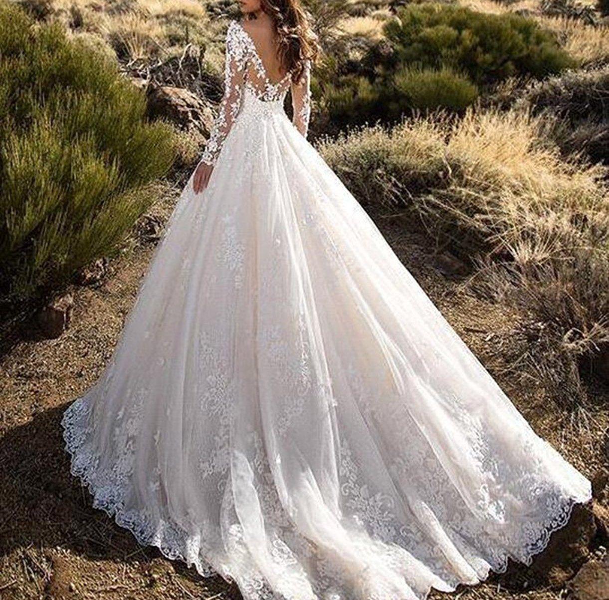 Kevins bridal double vneck lace wedding dress long sleeves ruffle
