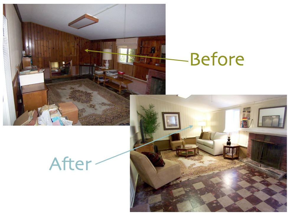wood paneling before and after found this above before after here even though they didn 39 t. Black Bedroom Furniture Sets. Home Design Ideas