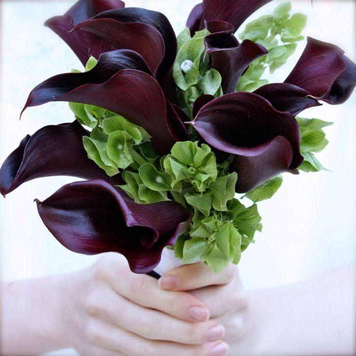 Bouquet- black Cala lily w bells of Ireland