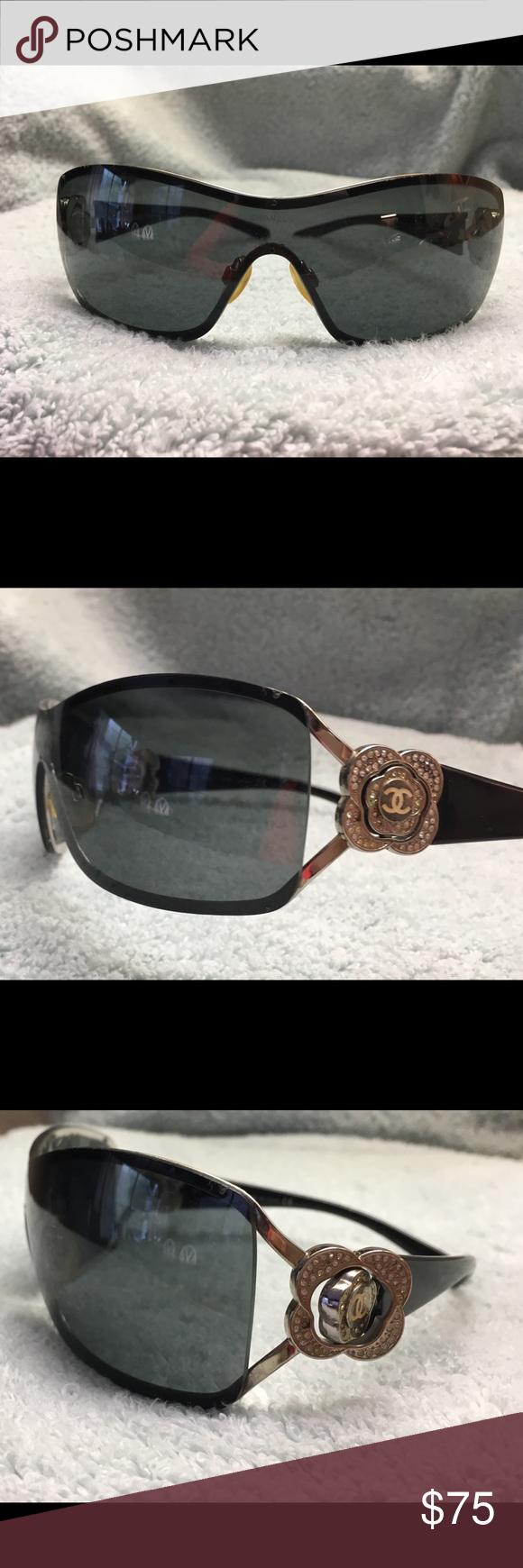 26398fbba579 Chanel Camellia Crystal Shield Sunglasses Chanel Camellia Crystal Shield  Sunglasses. Dark lenses
