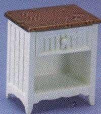 Dollhouse miniatura MESA DE CAMPO FRANCÉS END, WHT / WALNUT - CLA10726