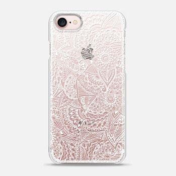 iPhone 7 Case Modern white handdrawn illustration floral henna paisley mandala pattern semi transparent by Girly Trend