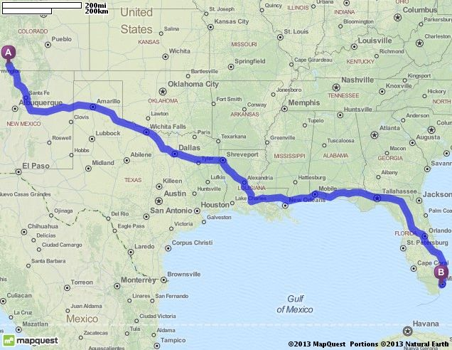 Driving Directions from Pagosa Springs, Colorado to Miami, Florida ...