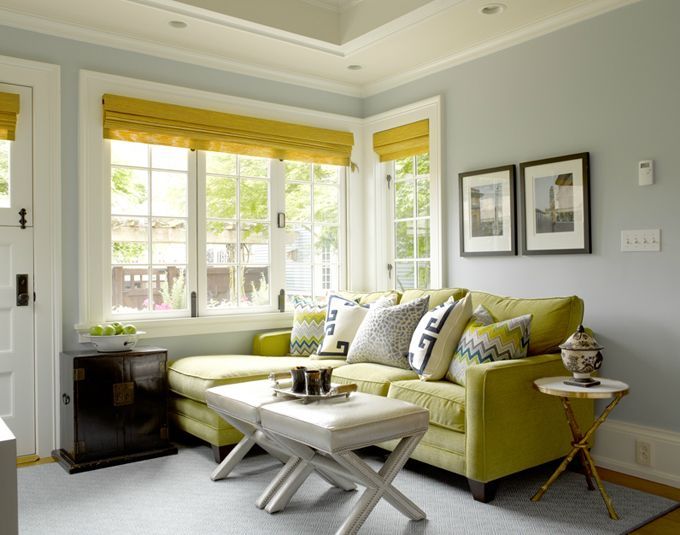 Graciela Rutkowski Interiors Chic Blue Green Living Room With Walls Paint Color Vaulted Ceiling Chartreuse
