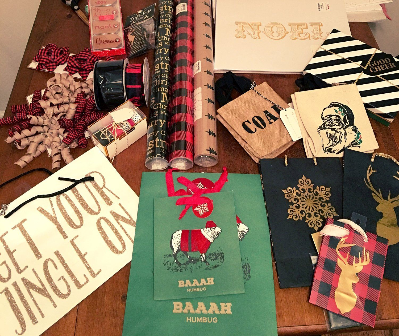 Christmas Gift Wrap: flannel, polka dots, black and gold, ribbon ...
