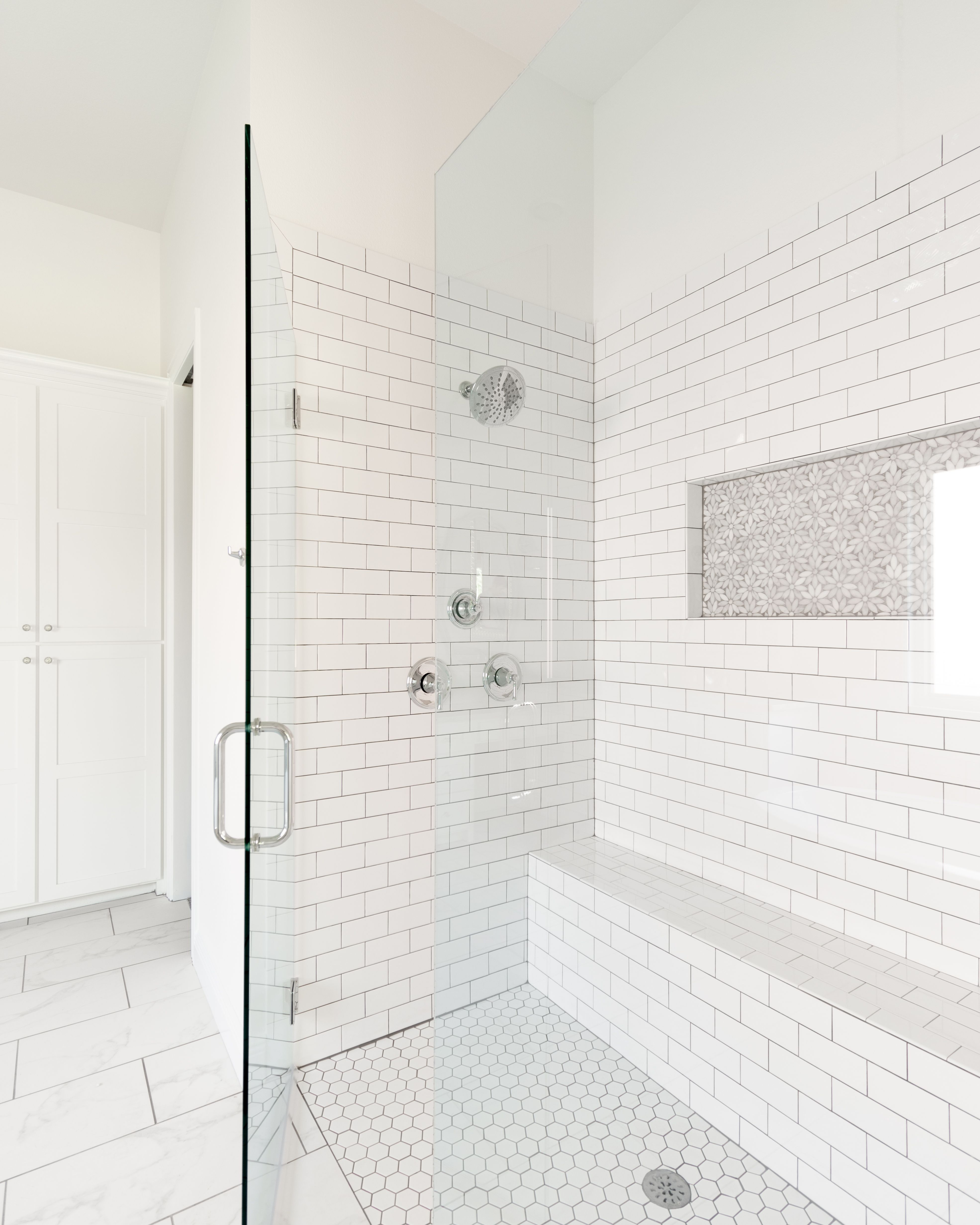 White Subway Tile Shower With Full Width Bench Marble Flower