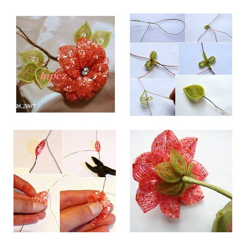 How To Make Beads Apricot Flower step by step DIY tutorial ...