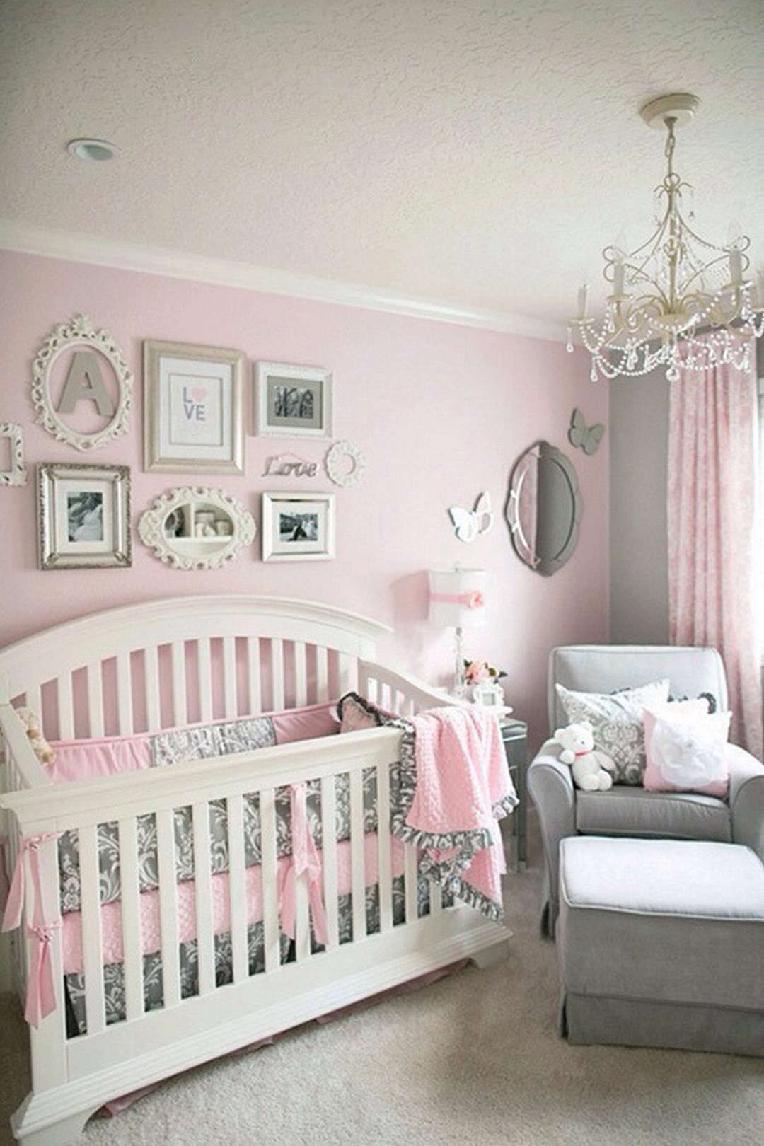 Baby Girl Nursery * So Many Things I Love About This Room! I Love The  Pictures Behind The Crib. Maybe Over The Diaper Changer?