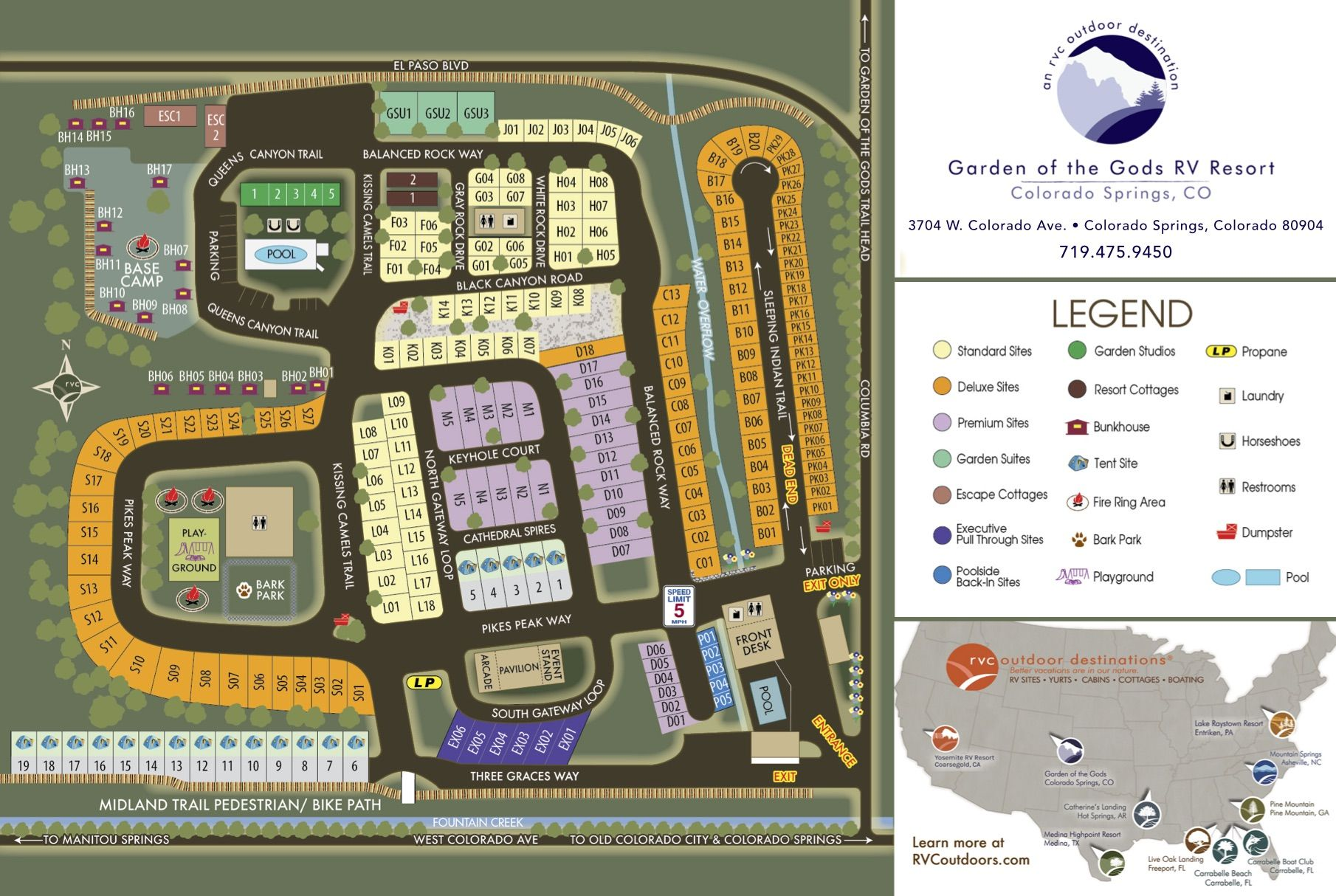 campground map garden of the gods campground 3704 w colorado ave
