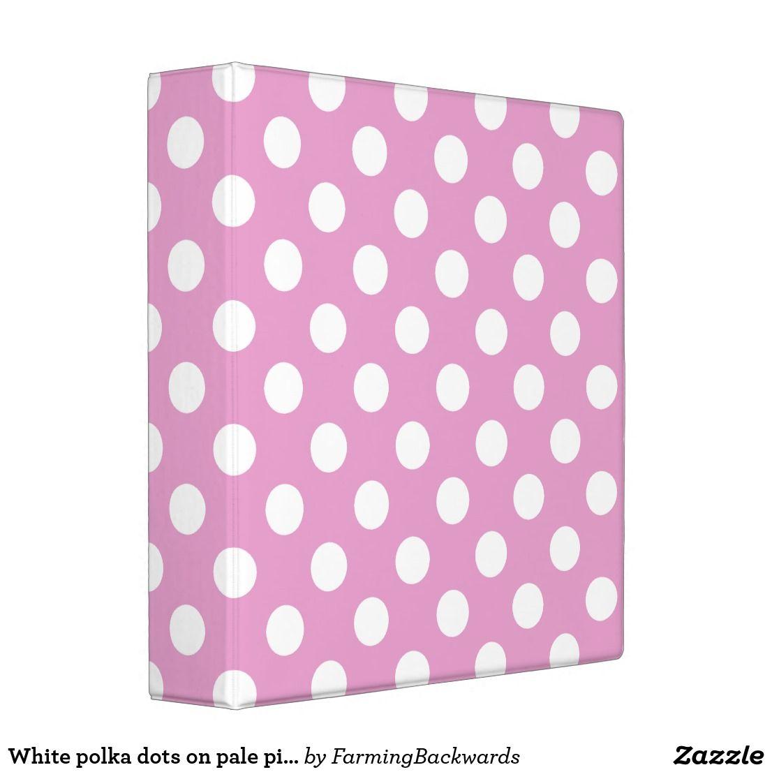 White Polka Dots On Pale Pink Binder