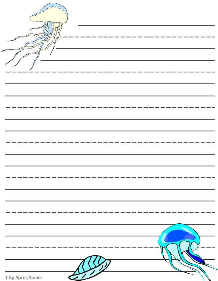 Jellyfish Writing paper, stationery, free printable kids letterhead