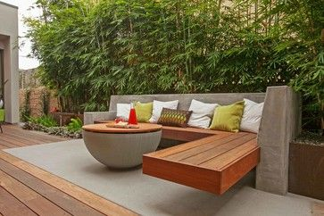 California Contemporary cantilever timber seat