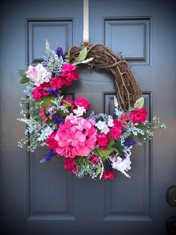 Spring Hydrangea Wreath Spring Wreaths Spring Door Wreaths Door