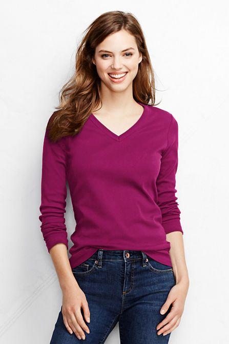 Women's Shaped Cotton V-neck T-shirt from Lands' End | Womens knit tops,  Women long sleeve, Polo shirt women
