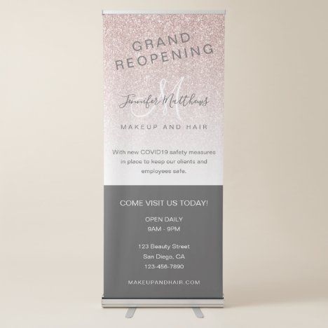 Rose Gold Glitter Reopening Salon COVID Safety Retractable Banner | Zazzle.com